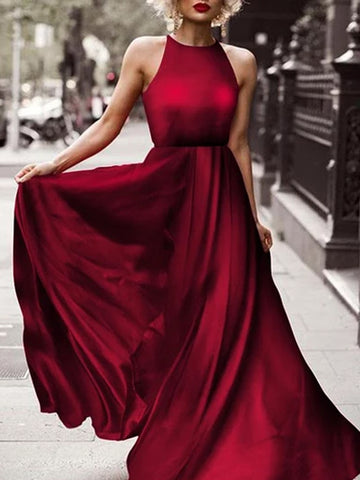 Sexy Sleeveless High-Waisted Fashion Evening Dress Maxi Dress