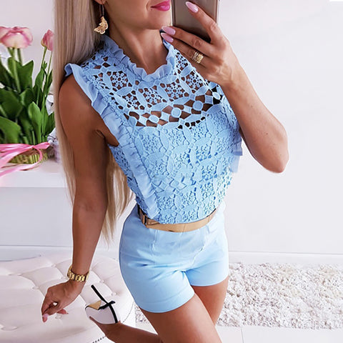 Fashion Round Neck Lace Cutout Sleeveless Blouse
