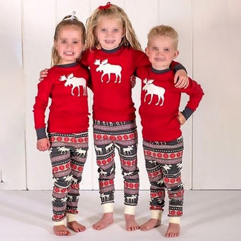 Casual Round Neck Long Sleeve Printed Family Matching Outfits Christmas Clothing Sets