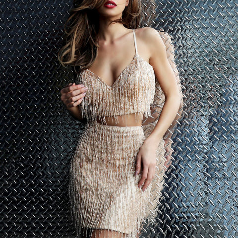 Fashion suspender tube top solid color fringed skirt suit