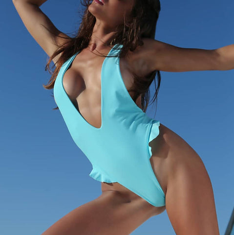Sexy Pure Color Backless One-piece Swimsuit