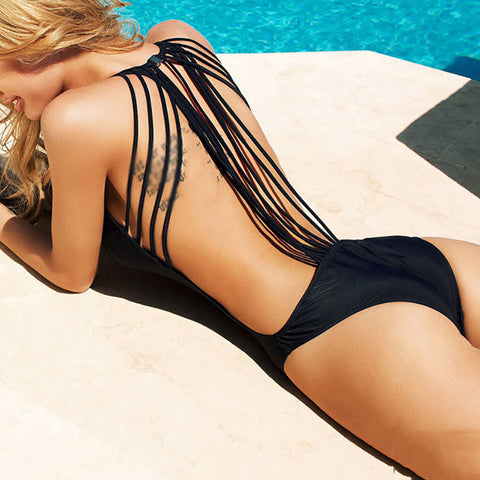 Sexy strapless backless one-piece swimsuit