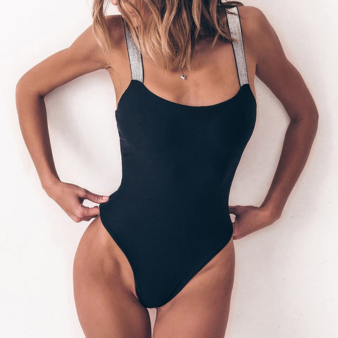 Simple round neck solid color sleeveless one-piece swimsuit