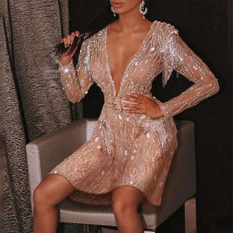 V-Neck Tassel Sequin Party Dress