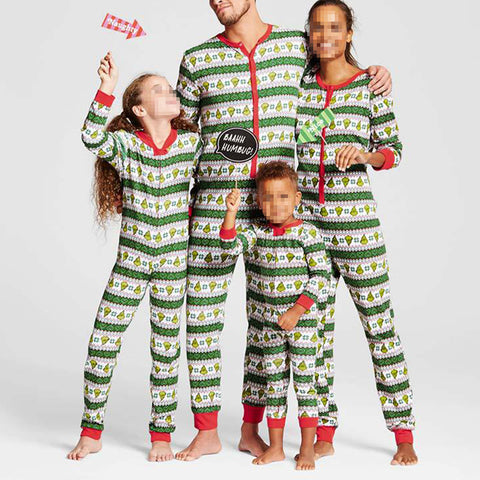 Leisure Christmas Round Neck Striped Family Matching Outfits Set