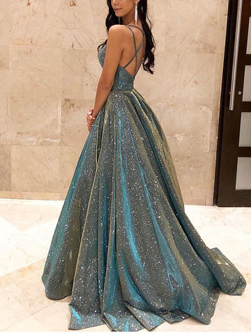 Sexy Sparkling Crystal Backless Swinging Dress