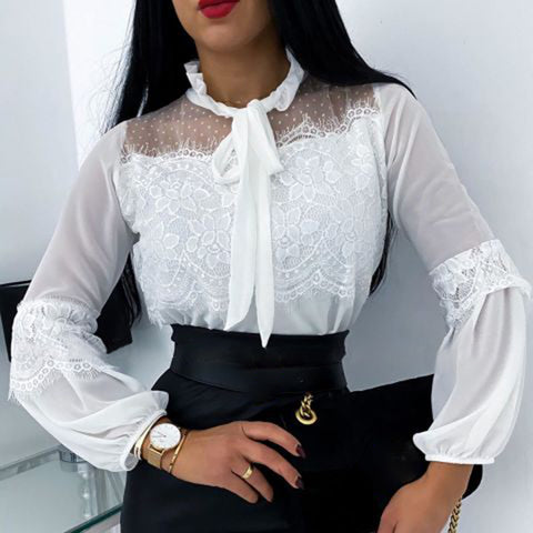 Fashion Lace Solid Color Long Sleeve Embroidery Blouse