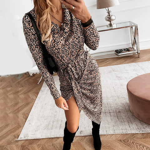 Sexy Leopard Printed Irregular Dress
