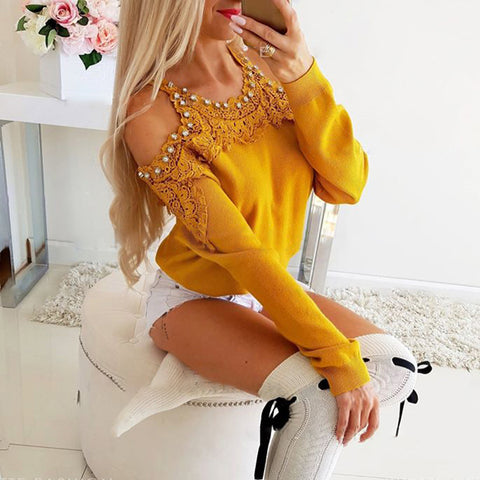 Women's Sweet Long Sleeve Lace Panel Beaded T-Shirt
