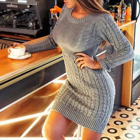 Sexy Round Neck Long Sleeve Solid Color Slim Knit Sweater Bodycon Dress