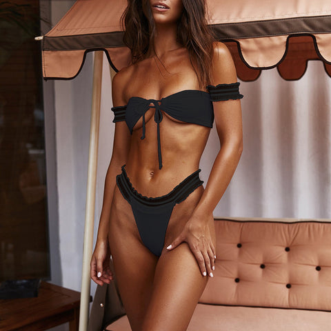 Sexy Lace Up Solid Bikini Swimsuit