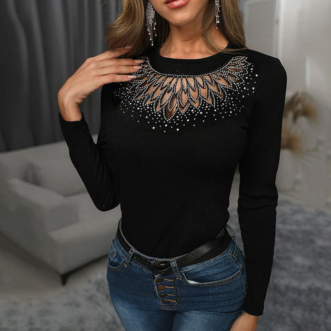 Womens Sexy Round Neck Hollow Long Sleeve Top