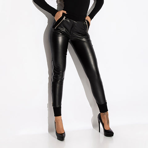 Fashion solid color ladies leather pants