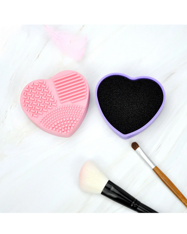 Heart shape silicone makeup brush cotton pad clean box
