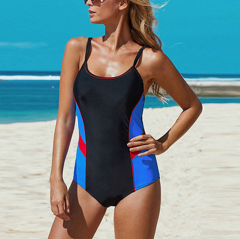 Women's Fashion Colorblock One Piece Swimsuit