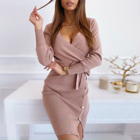 Fashion Skew Collar Single-breasted Long Sleeve Belted Knit Dress