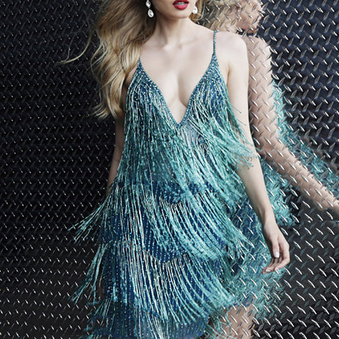 Ladies Sexy Sling Fringe Loose Dress