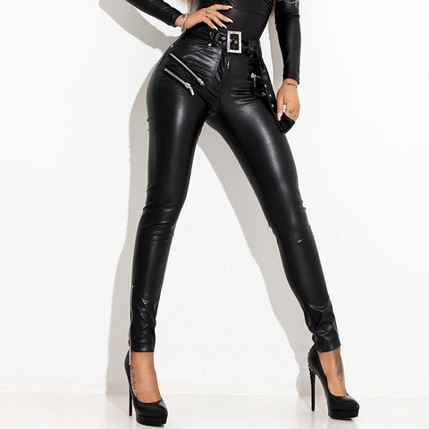 Women's Fashion Slim Leather Pants