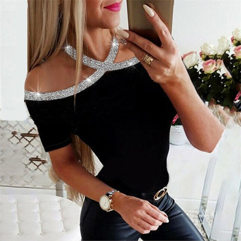 Women's Fashion Sequined Off-Shoulder T-Shirt