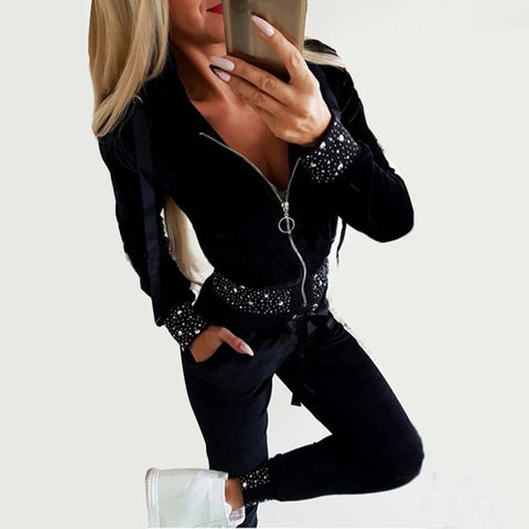 Fashion rhinestone zipper hooded trousers set