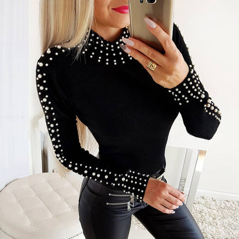 Fashion faux pearl short high collar slim t-shirt