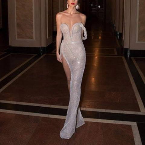 Sexy Tube top Sleeveless Paillette Slim Slit Evening Dress