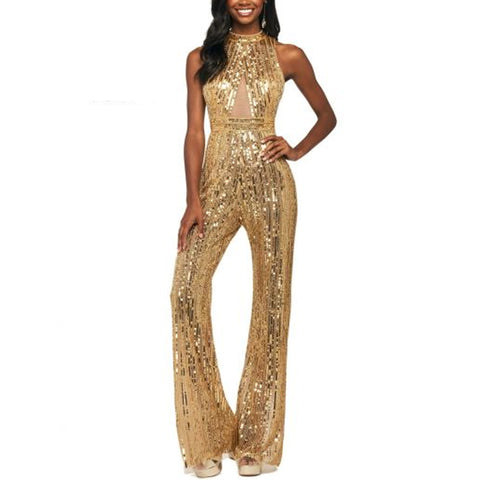 Fashion solid color spliced sequins jumpsuit