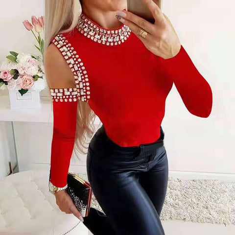 Women's Fashion Pure Color Long Sleeve Diamond T-Shirt