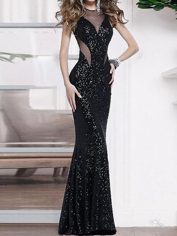 Sexy Mesh Pure Color Off-shoulder Evening Dress