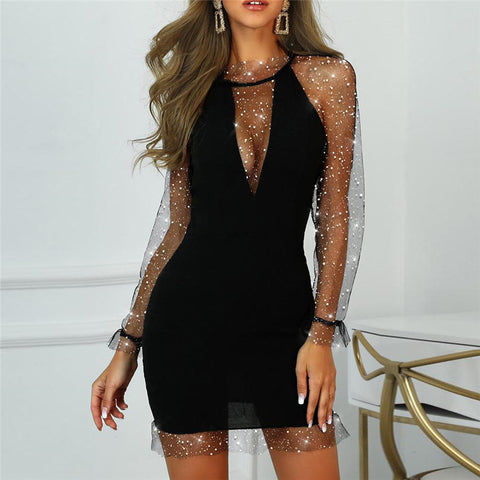 Sexy Stitching Mesh Long Sleeve Black Wrap Hip Dress
