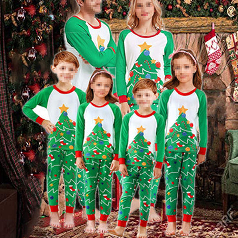 Fashion Christmas Printed Round Neck Green Family Outfits