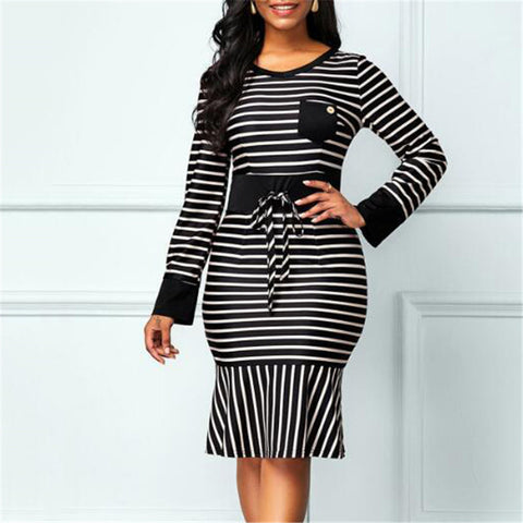 Casual Round Neck Flounce Striped Dress