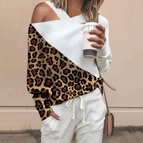 Fashion Stitching Leopard Sweater