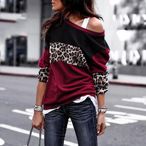 Casual Printed Color Boat Neck Top