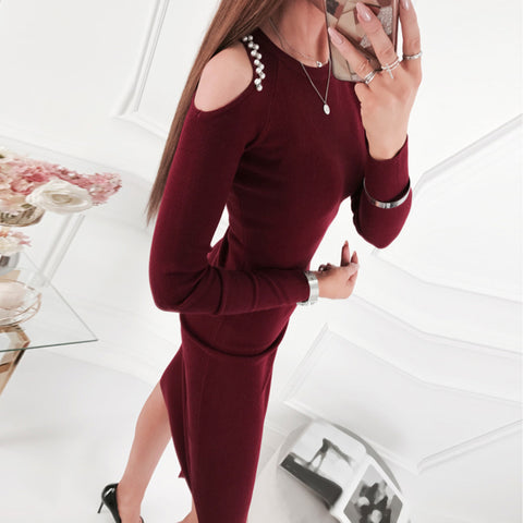 Women's Fashion Solid Color Hip Dress