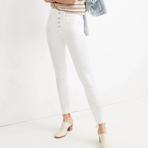 Simple solid color slim buckle high waist casual pants