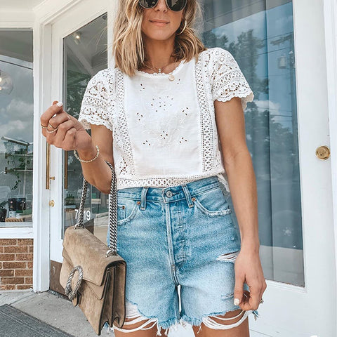 Casual round neck lace short sleeve T-shirt
