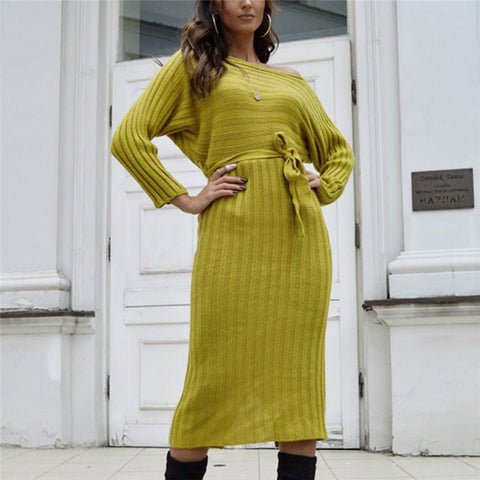 Commuting Resist Boat Neck Long Sleeve Belted Knit Dress