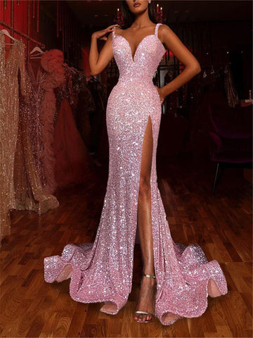 Sequined V-neck sleeveless evening dress