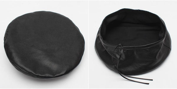 PMS Berets Black / one size New Women's Leather Beret