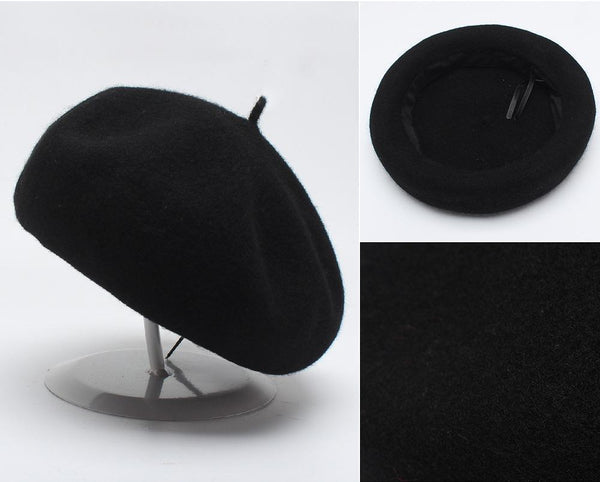 PMS Berets Black / one size Solid Wool Woolen Beret