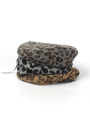 PMS Berets Camel / one size Fashion   Casual Leather trimmed leopard print Beret cap