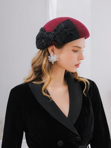 PMS Berets Claret / one size New Mixed Color Lace Bow Beret