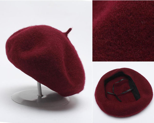 PMS Berets Claret / one size Solid Wool Woolen Beret