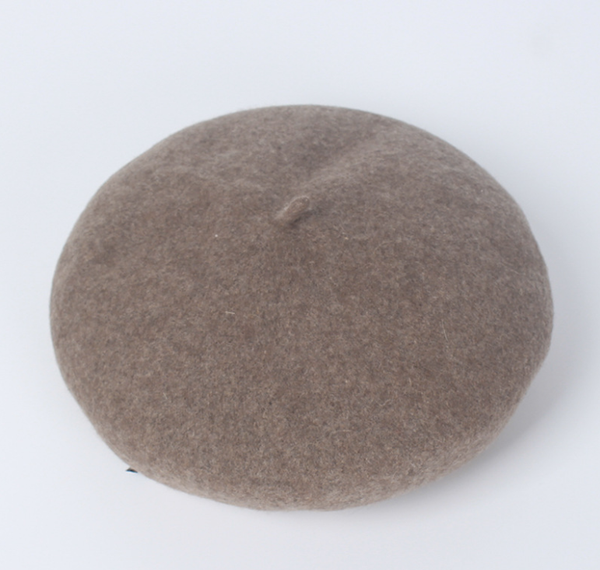 PMS Berets Khaki / one size Solid Wool Woolen Beret