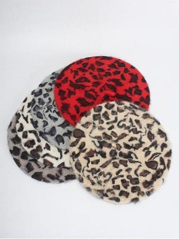 PMS Berets Red / one size Fashion Rabbit Leopard Beret