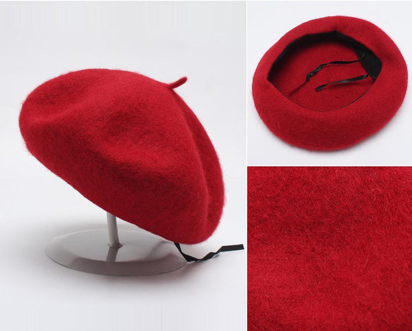 PMS Berets Red / one size Solid Wool Woolen Beret