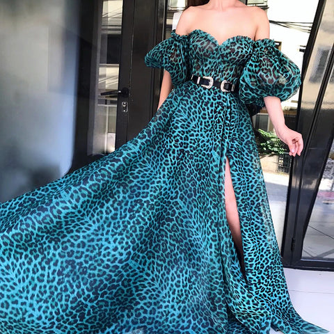 Sexy Off-Shoulder Strapless Leopard Print Dress