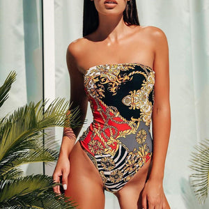 PMS Bikinis Black / s Female European and American sexy fashion print bikini