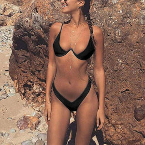 PMS Bikinis Black / s Halter  Backless Cutout Patchwork  Plain Bikini